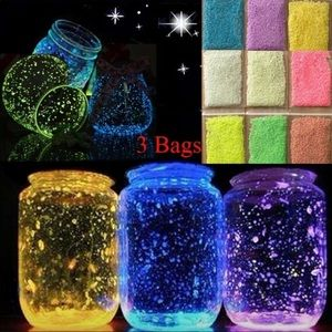 3 Bags colourful florescent glossy sand glow